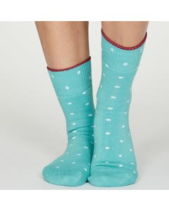 Thought Women's Organic Cotton Blend Spotted Turquoise Socks