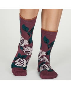 Thought Women's Bamboo Blend Floral Mauve Socks