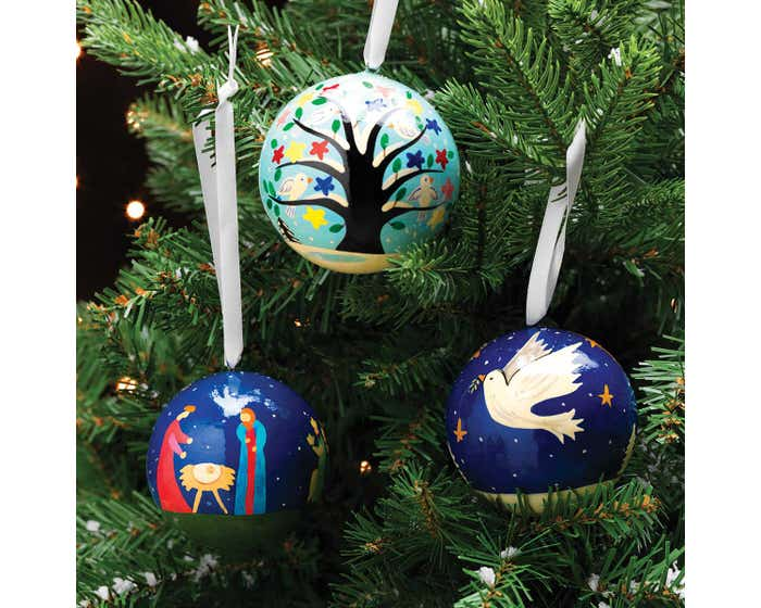 Large Hanging Handmade Christmas Baubles - Set of Three
