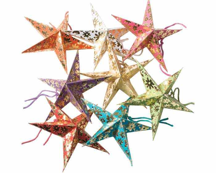 Flower Printed Star Decorations - Set of Eight