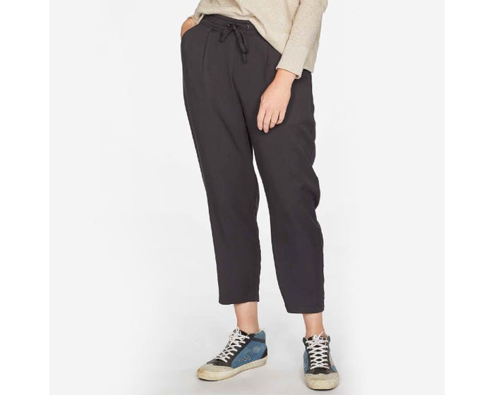 Thought Katie Viscose and Bamboo Blend Black Tie Waist Trousers