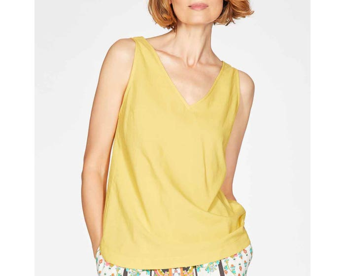 Thought Imogen Organic Cotton and Modal Blend V-Neck Top Size 18