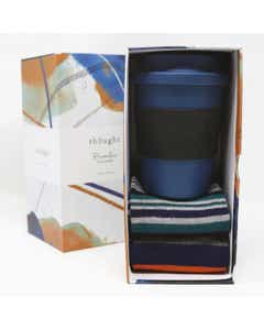 Thought Men's Bamboo Cup and Denim Blue Socks Gift Pack