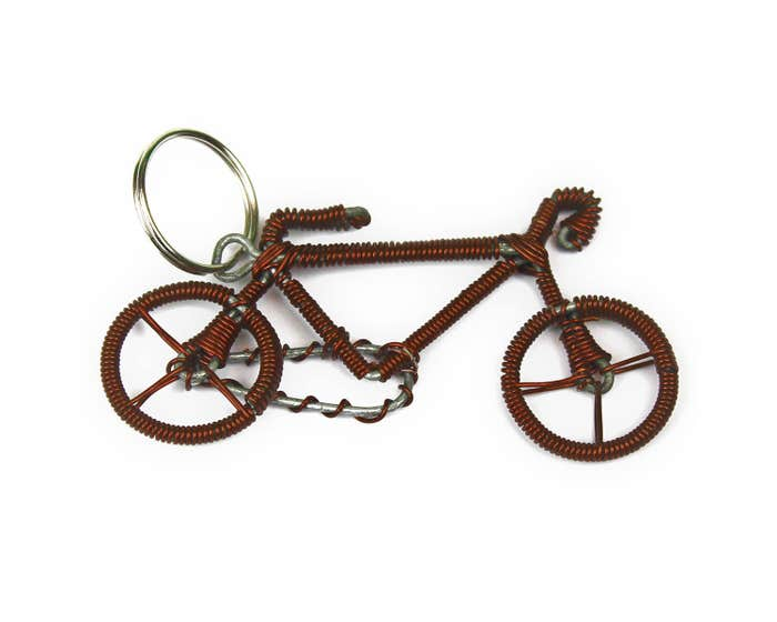 Cycle of Good Recycled Copper Wire Bicycle Keyring