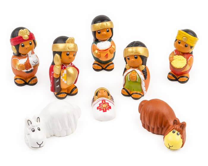 Hand-Painted Eight Piece Native American Nativity Set