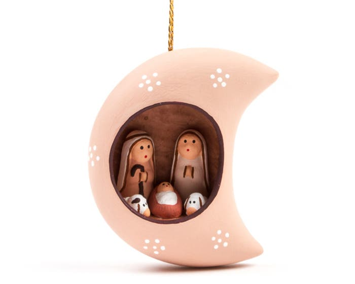 Hand-Painted Christmas Nativity in a Moon Hanging Decoration