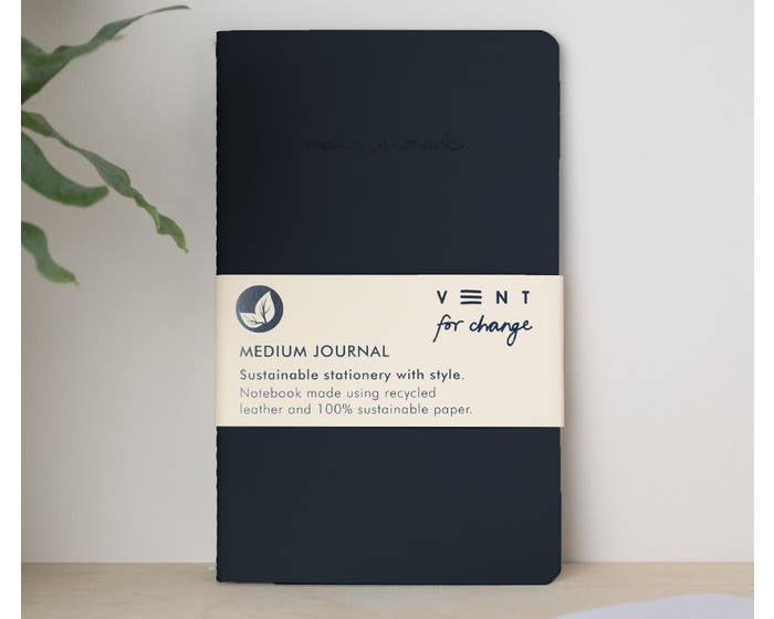 Recycled Leather Black Journal with Lined & Plain Paper