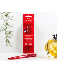 Two Pack Recycled 'Make a Mark' Pens - Red with Black Ink