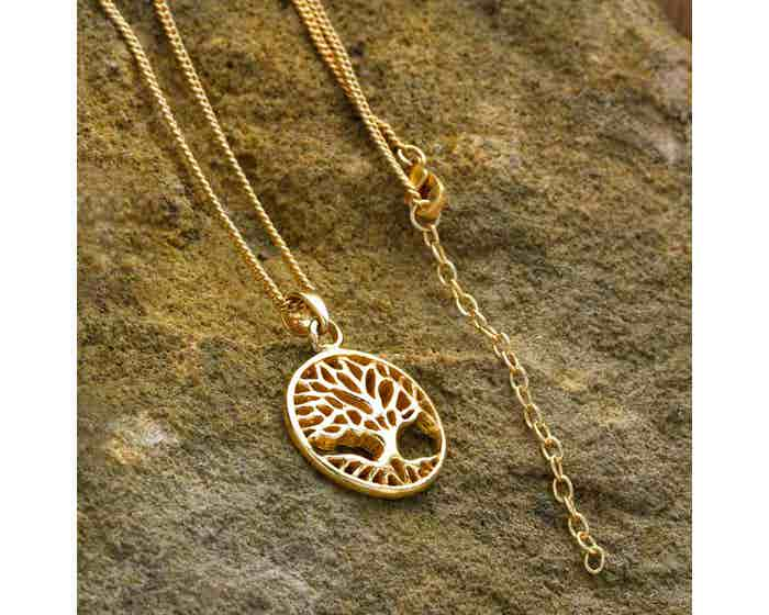 Tree of Life Necklace - Gold Coloured Brass
