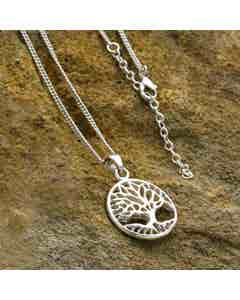 Tree of Life Necklace - Silver Coloured Brass