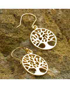 Tree of Life Earrings -  Gold Coloured Brass