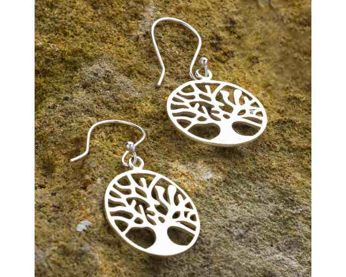 Tree of Life Earrings -  Silver Coloured Brass