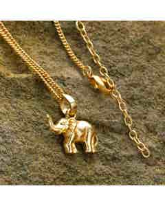 Elephant Necklace -  Gold Coloured Brass