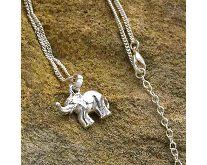 Elephant Necklace -  Silver Coloured Brass