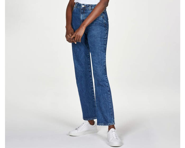 Thought Women's Organic Cotton Mid Wash Blue Straight Jeans - Size 16
