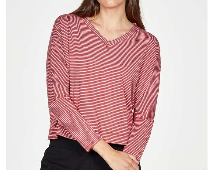 Thought Bamboo and Organic Cotton Blend Isobel Batwing Sleeve Striped Top - Size 16