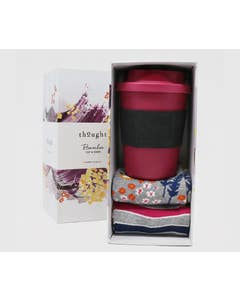 Thought Women's Zebina Reusable Bamboo Cup and Socks Set in Gift Box