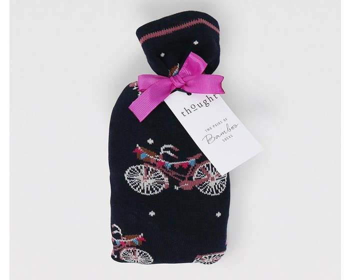 Thought Women's Bamboo and Organic Cotton Blend Velma Bicycle Socks in Gift Bag