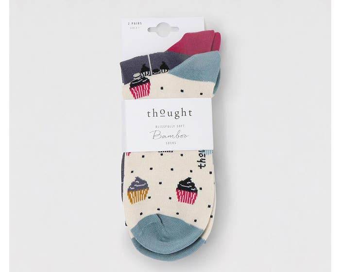 Thought Women's Bamboo and Organic Cotton Blend Delphie Afternoon Tea Socks - Pack of Two