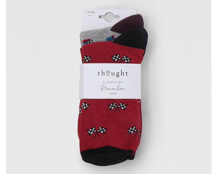Thought Men's Bamboo and Organic Cotton Blend Jacques Racing Car Socks - Pack of Two