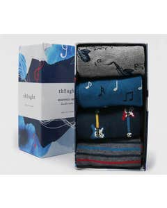 Thought Men's Bamboo and Organic Cotton Blend Corie Music Socks in Gift Box - Pack of Four