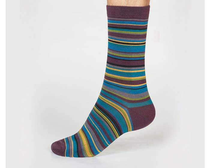 Thought Men's Bamboo and Organic Cotton Blend Abram Striped Socks
