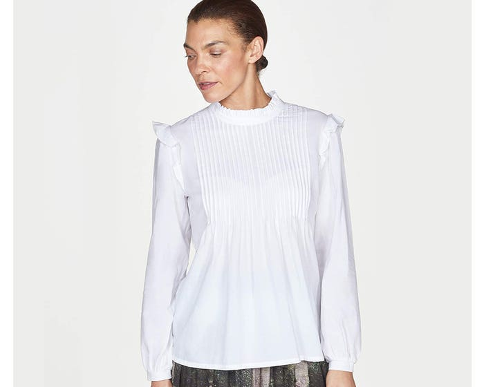 Thought Gertie Organic Cotton and Modal Pleated Ruffle Blouse - Size 14