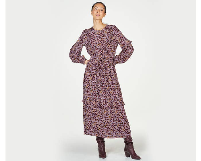 Thought 100% Ecovero Tabitha Tiered Frill Maxi Dress with Tie Waist - Size 12