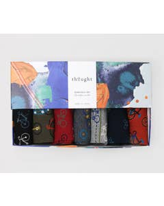 Thought Men's Bamboo and Organic Cotton Blend Simeon Bicycle Socks in Gift Box