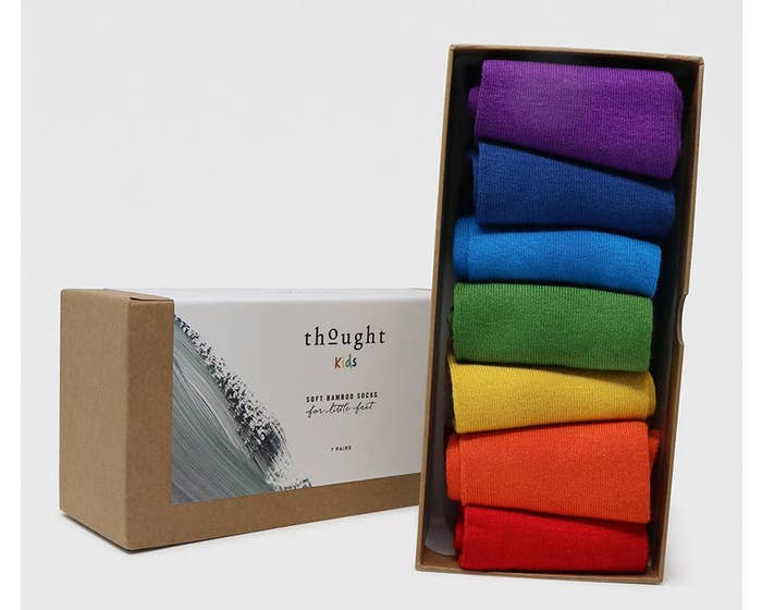 Thought Children's Bamboo and Organic Cotton Blend Rainbow Socks in Gift Box - Age 4-6 Years