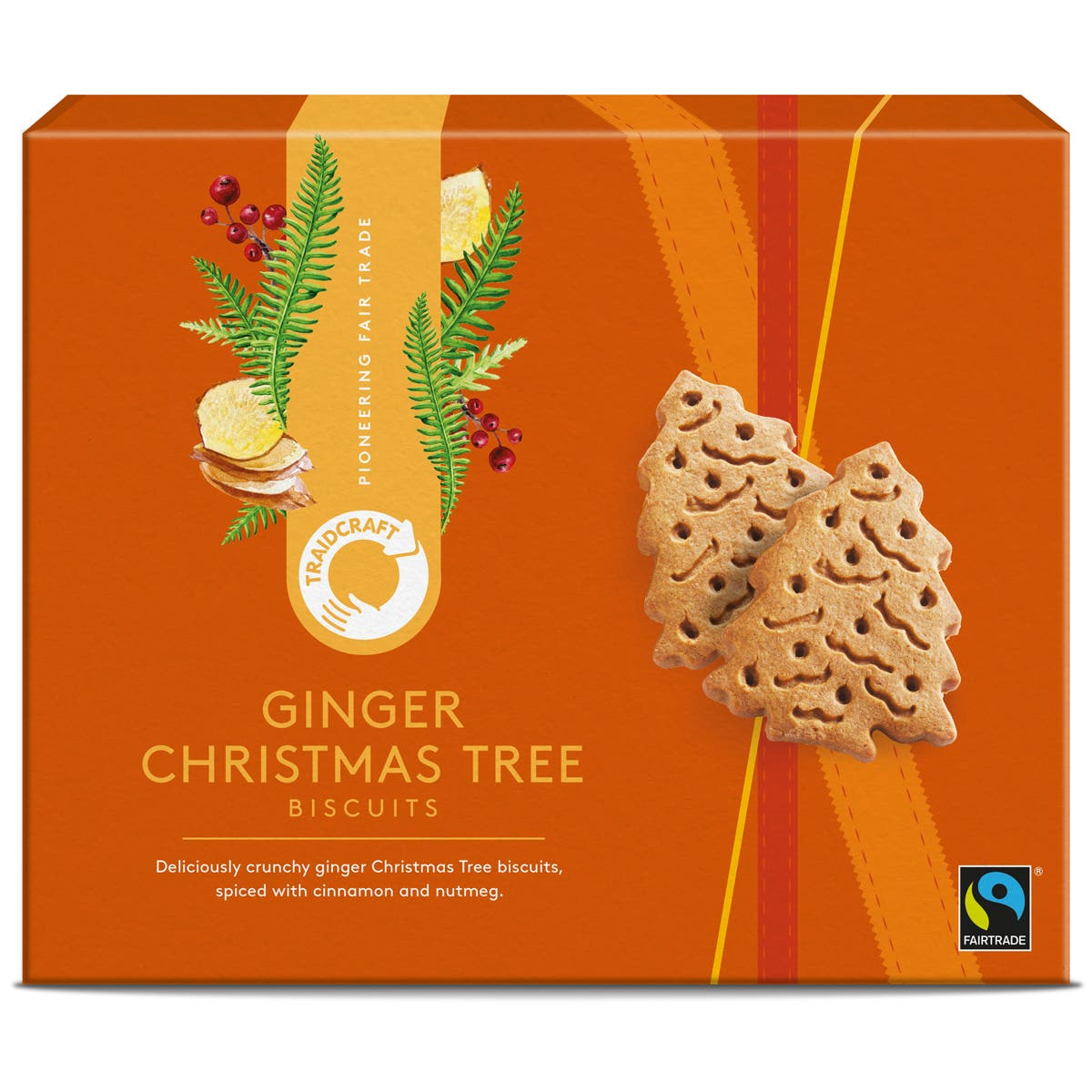 Traidcraft Ginger Christmas Tree Biscuits (170g) SINGLE
