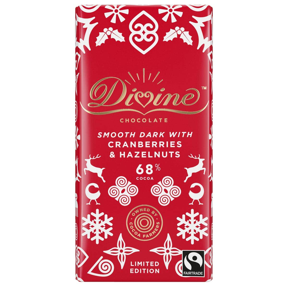 Divine Dark Chocolate with Cranberries and Hazelnuts (90g)