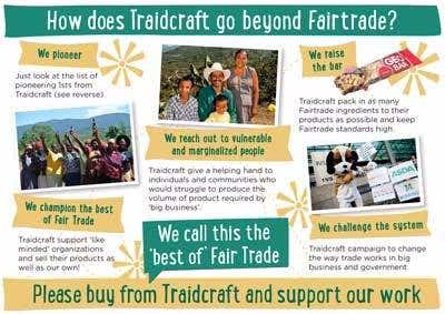 'How Does Traidcraft Go Beyond Fairtrade?' Postcard