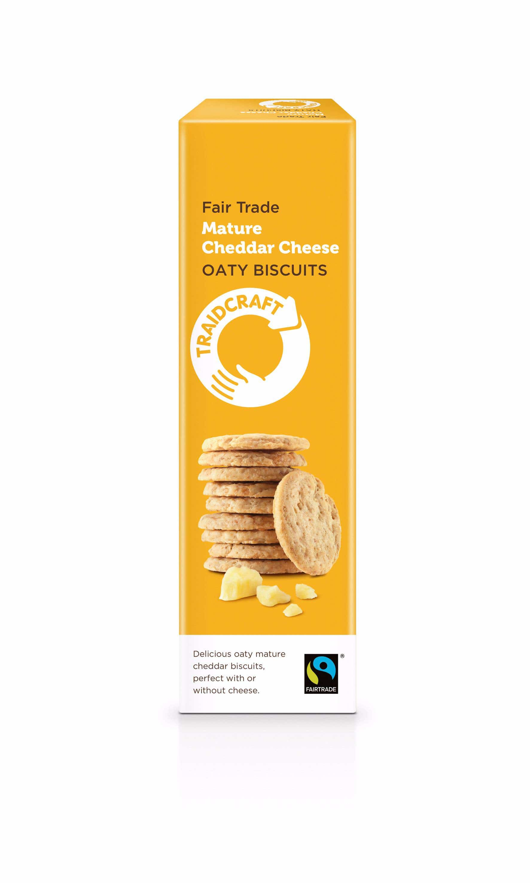 Traidcraft Mature Cheddar Cheese Oaty Biscuits (12x130g) CASE
