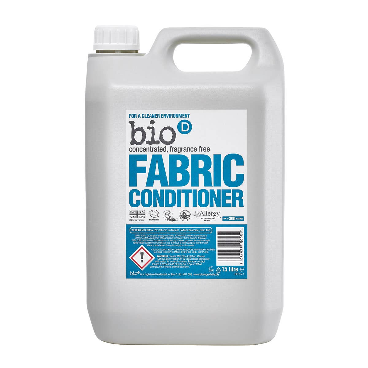 Bio-D Fragrance-Free and Hypoallergenic Fabric Conditioner (5 Litre)