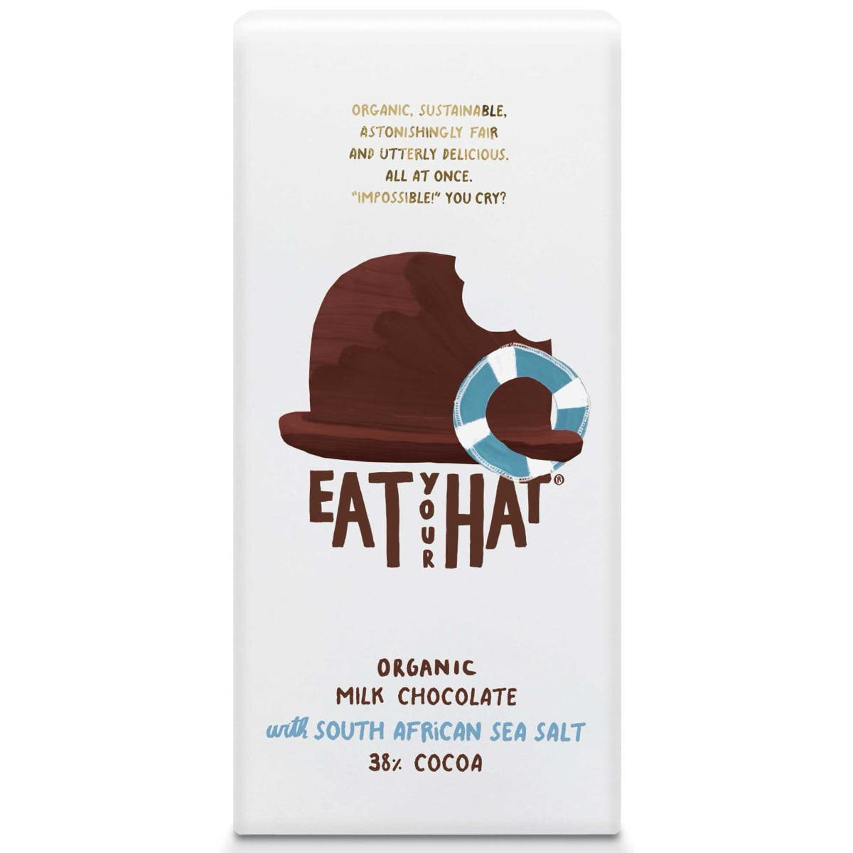 Eat Your Hat Organic Milk Chocolate with South African Sea Salt (10x91g) - CASE