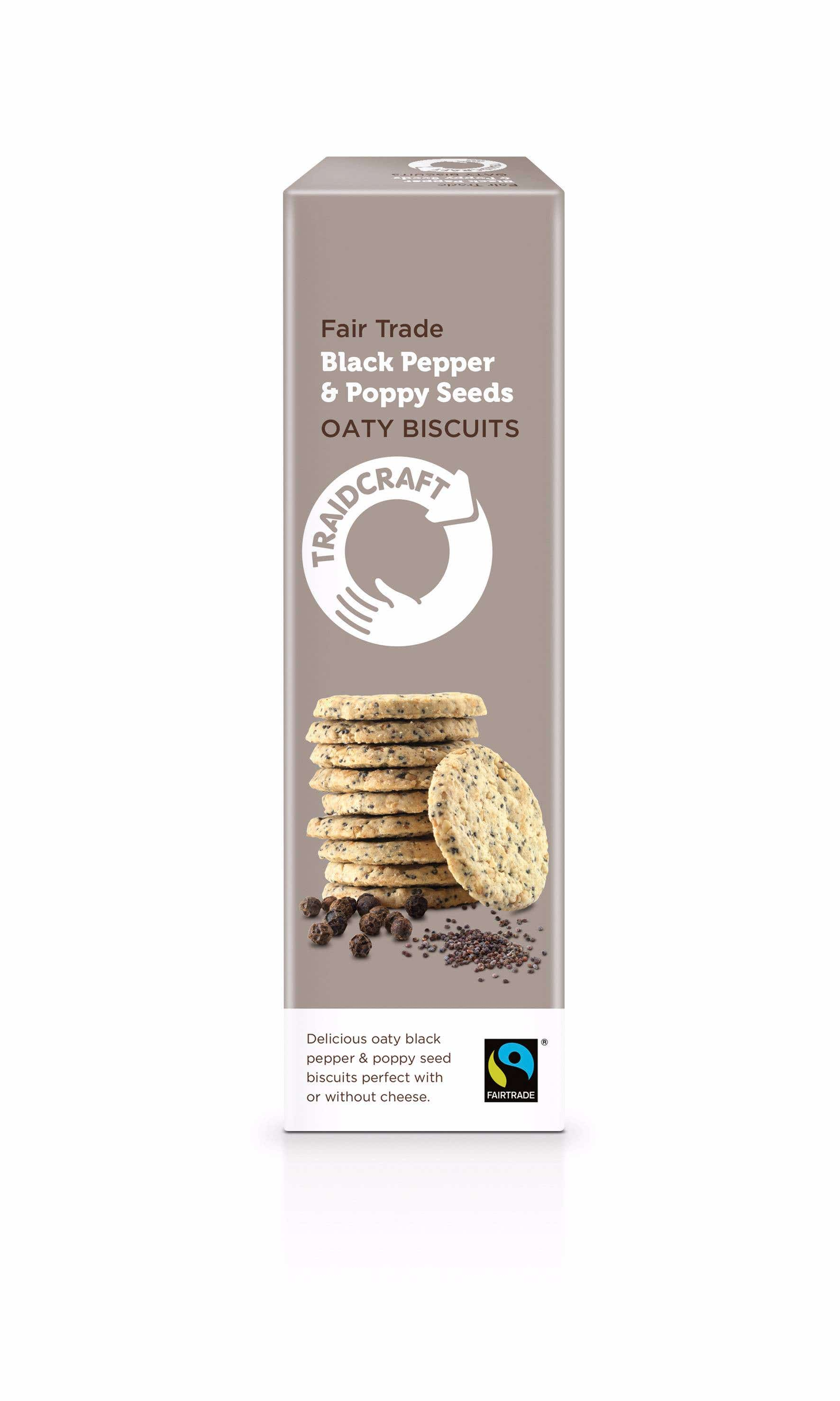 Traidcraft Black Pepper & Poppy Seeds Oaty Biscuits (130g) SINGLE