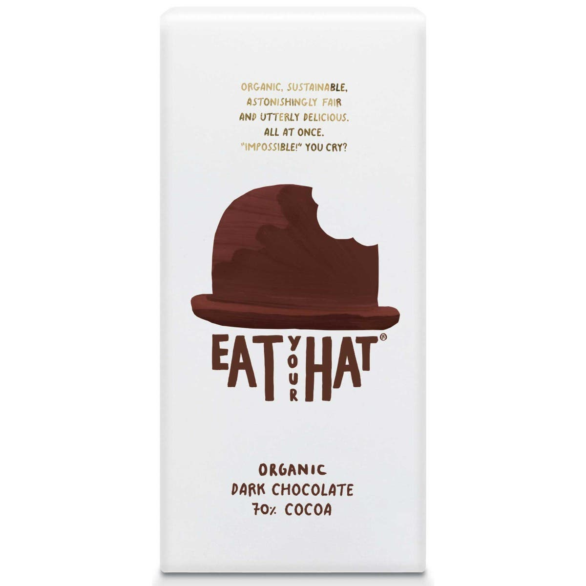 Eat Your Hat Organic 70% Dark Chocolate (10x91g) - CASE