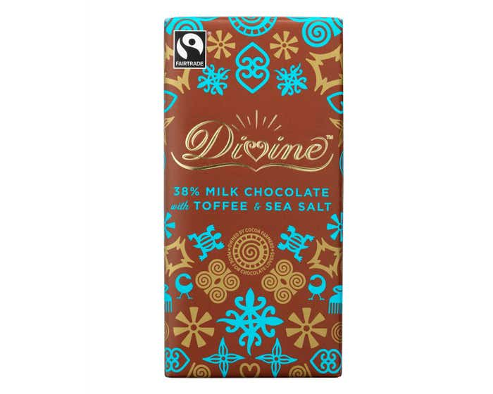 Divine Milk Chocolate with Toffee & Sea Salt Display Box (15x100g)