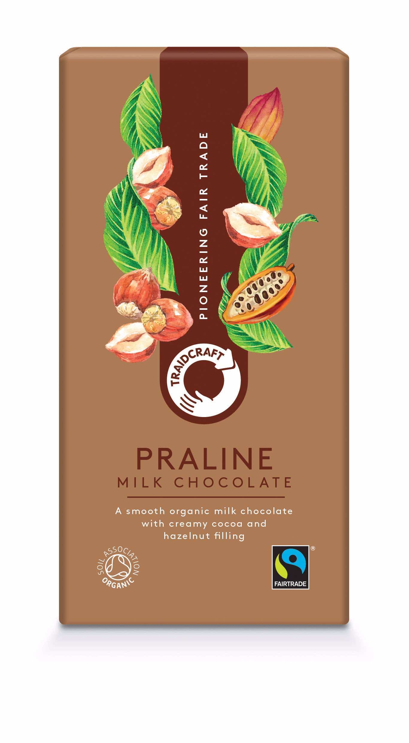 Traidcraft Organic Milk Chocolate with Praline (10x100g) CASE