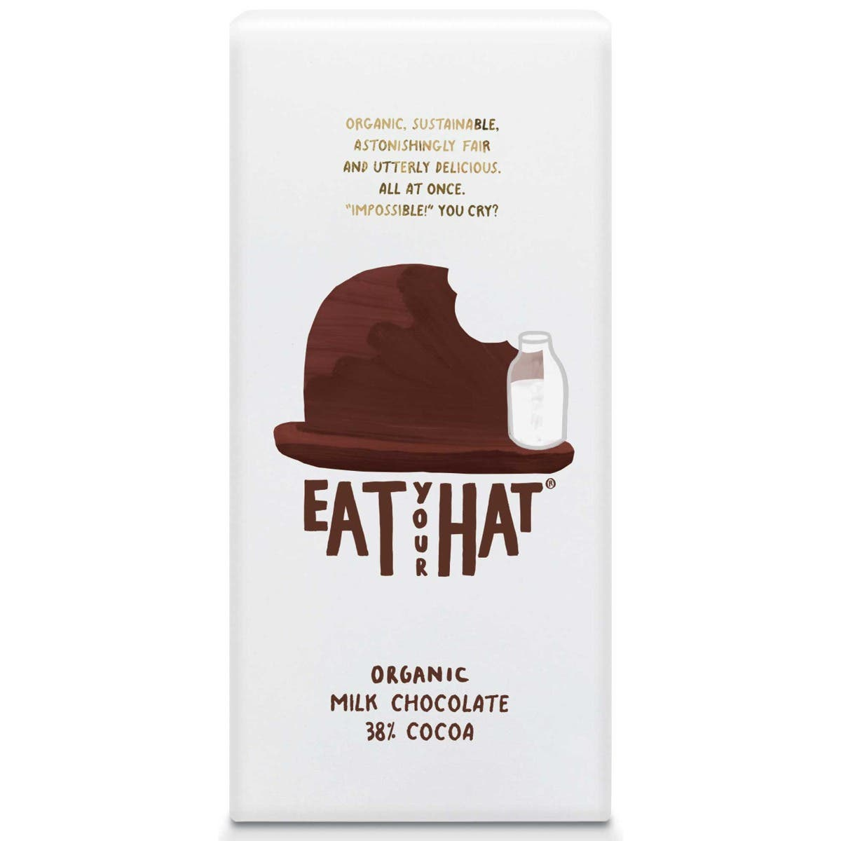 Eat Your Hat Organic 38% Milk Chocolate (10x91g) - CASE