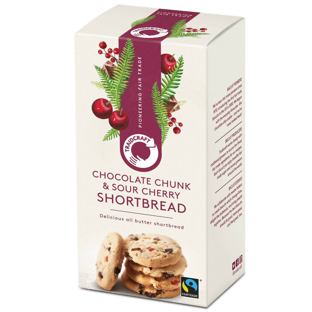 Traidcraft Chocolate Chunk & Sour Cherry Shortbread Rounds (160g) SINGLE