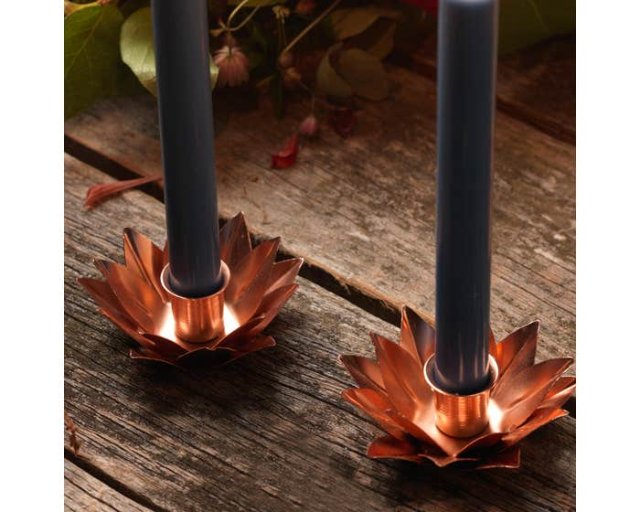Copper Lotus Flower Candlestick Holders