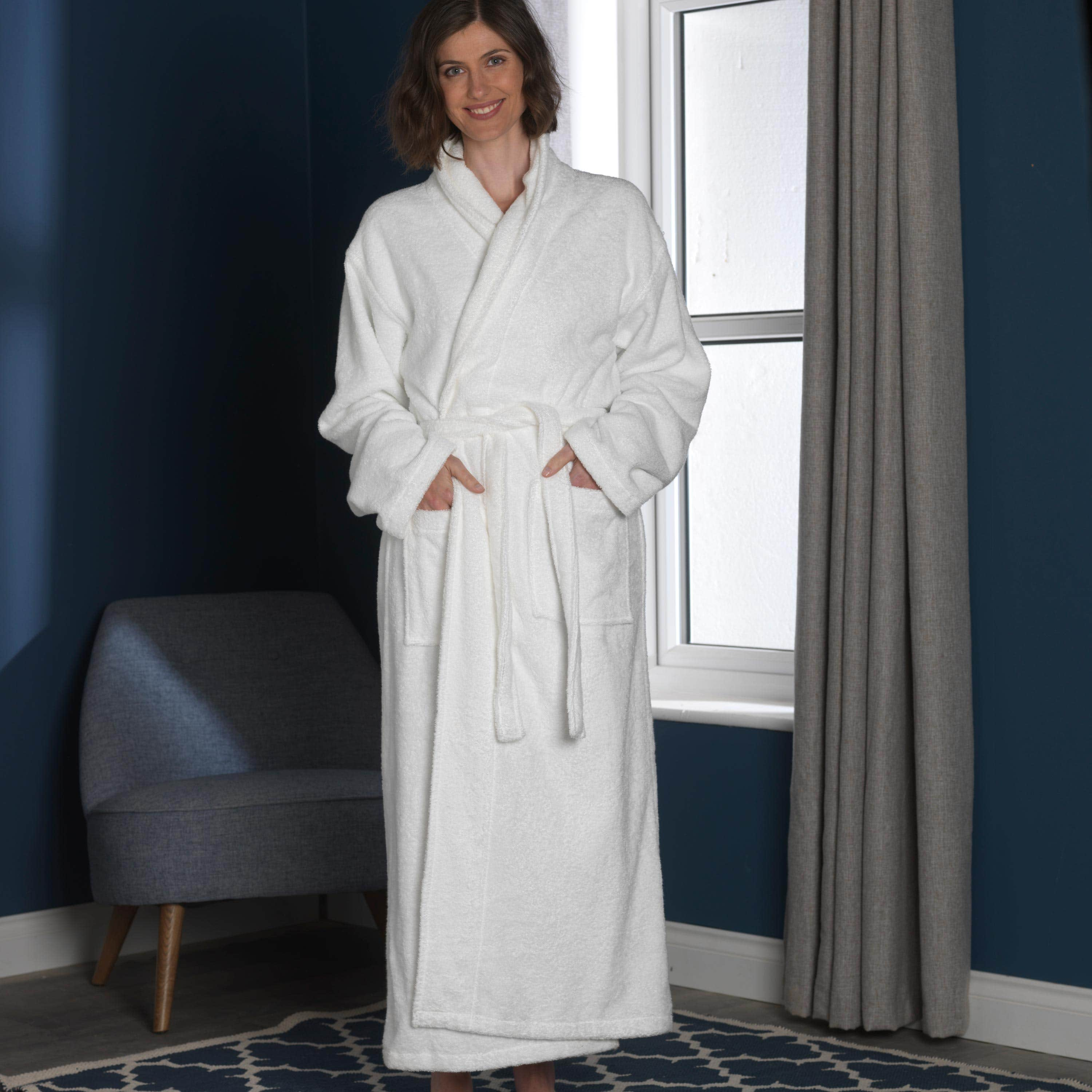 Natural Organic Cotton Dressing Gown - White (S/M)