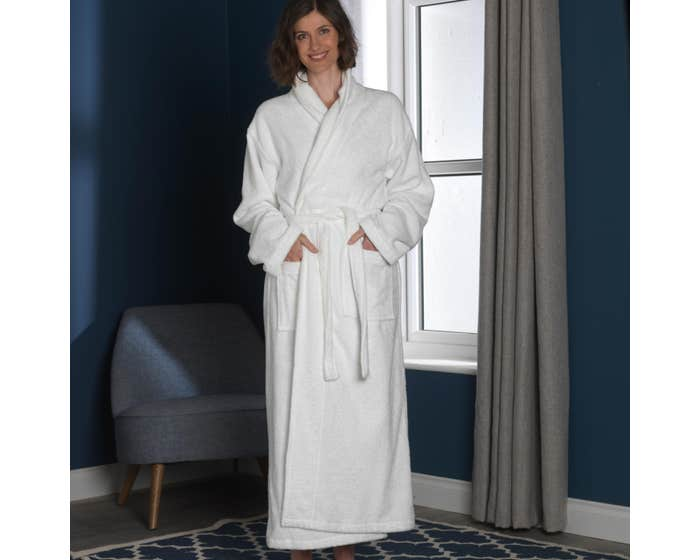 Natural Organic Cotton Dressing Gown - White