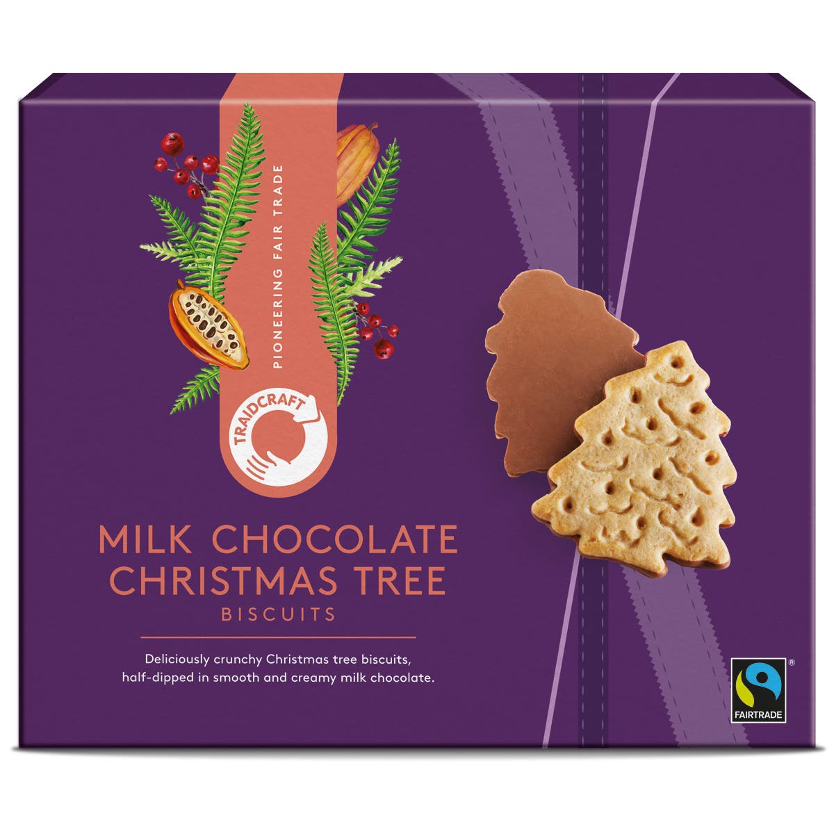 Traidcraft Milk Chocolate Christmas Tree Biscuits (12x200g) CASE