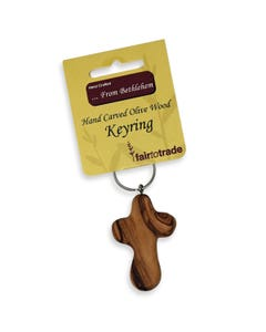 Hand Carved Olivewood Cross on Keyring