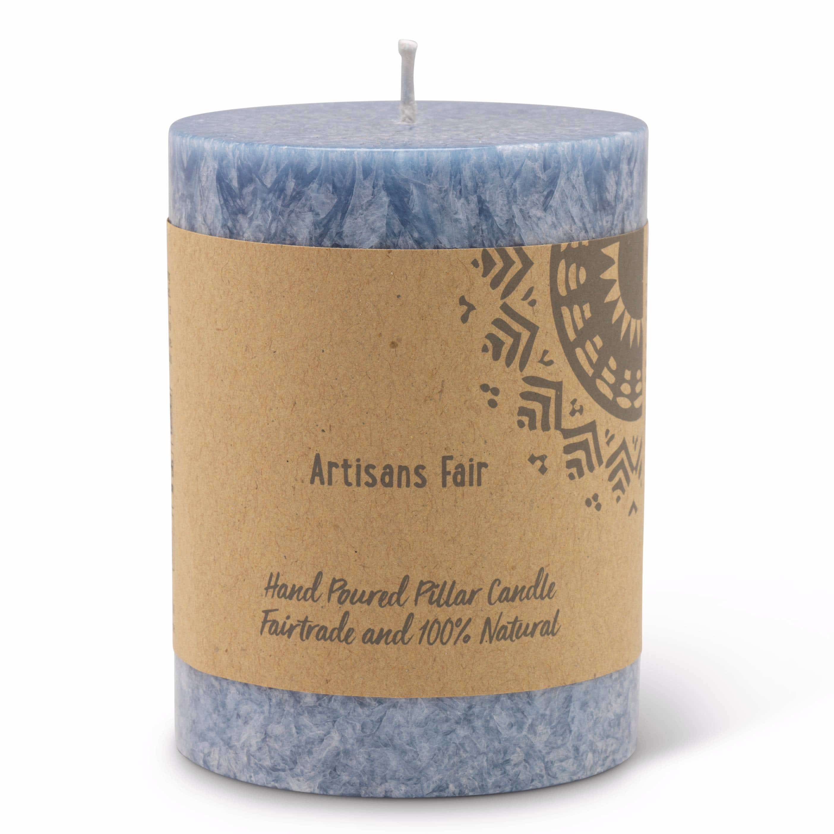 Arctic Blue Frosted Pillar Candle - Small