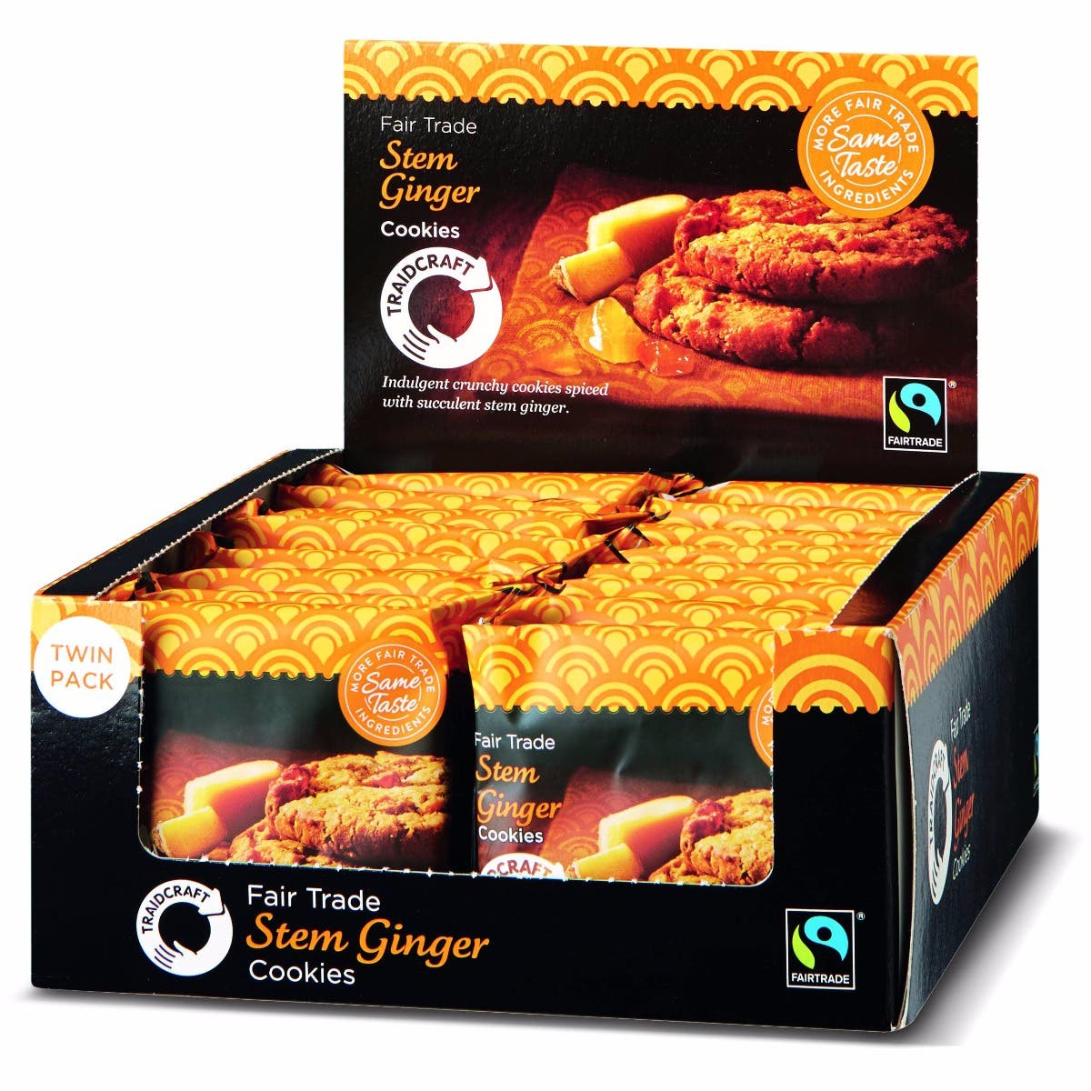 Traidcraft Stem Ginger Cookies Display Box (16x45g)