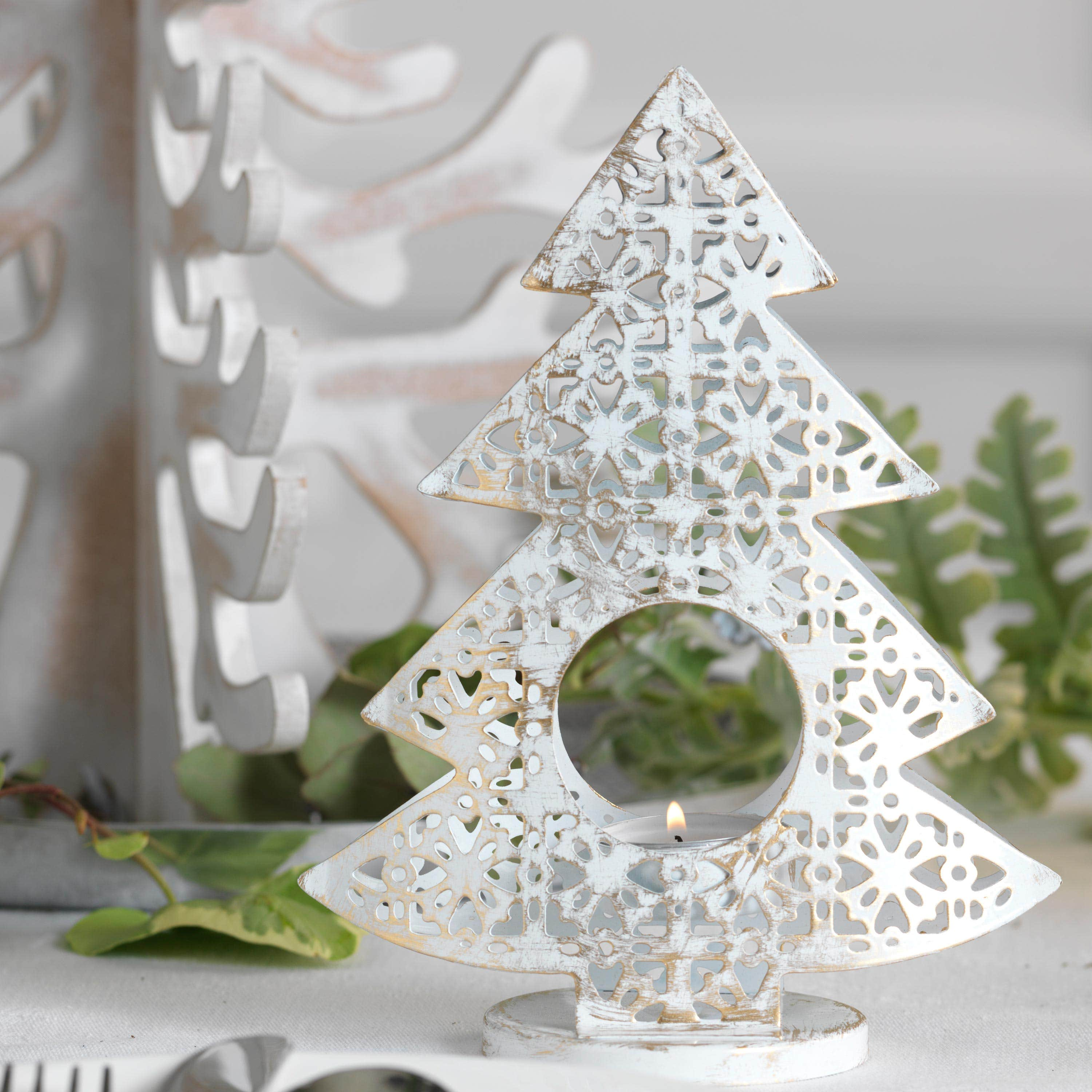 White Christmas Tree Tealight Holder